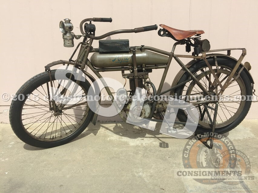 1912 Pope Motorcycle Model H – Single Cylinder Belt Drive …@Mecum Auction 2016